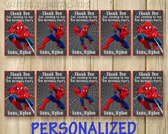 Spider-Man Favor Tag, Spider-Man Thank You Tags, Personalized