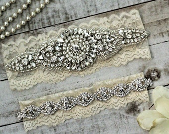 Ivory Wedding Garter Set NO SLIP grip vintage rhinestones, pearl and rhinestone garter set