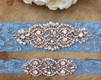 Antique Blue Wedding Garter, rose gold, Set NO SLIP grip vintage rhinestones, pearl and rhinestone garter set, Something Blue
