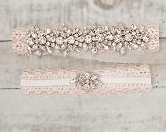 Blush Bridal Garter, wedding garter set, NO SLIP Lace Wedding Garter Set, bridal garter