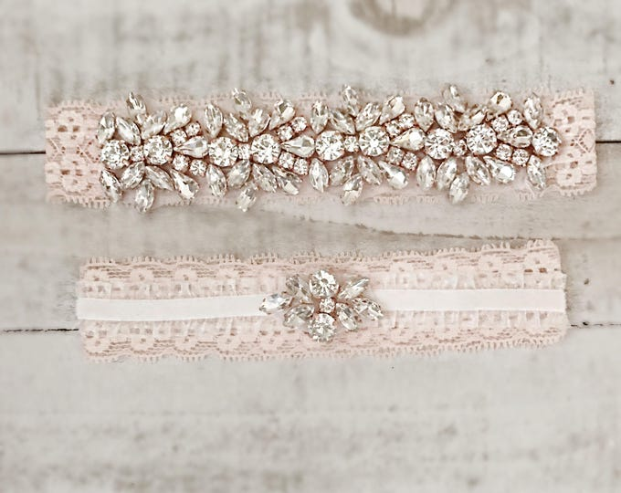 Blush Bridal Garter, wedding garter set, NO SLIP Lace Wedding Garter Set, bridal garter