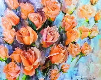 Oil painting Roses painting Still life painting Rose wall art Floral Painting Bouquet painting Wall art canvas Artwork Original Gift for her