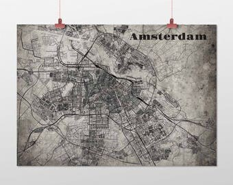 Amsterdam din a4/DIN A3-print-old-school