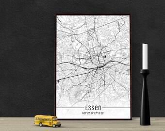 Essen-Just a map-din A4/A3-Print