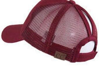 CC Burgundy Ponytail Cap - Pony Tail Hat