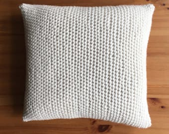 Crochet knitted Cushion Cover, Handmade Merino wool Knitted Cushion