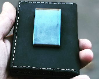 Leather bifold wallet with titanium money clip