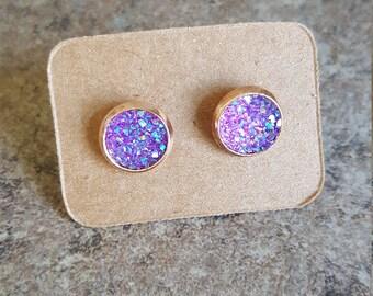 Purple Druzy Earrings, Faux Druzy Earrings, Gun Metal Earrings, Druzy Studs, Trendy Earrings, sparkle Studs, Faux Druzy, mother's day