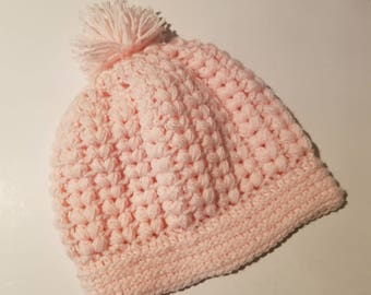 adult size crochet puff stitch hat with pom pom. Pink, Turquoise, Plum, Cream or Beige available