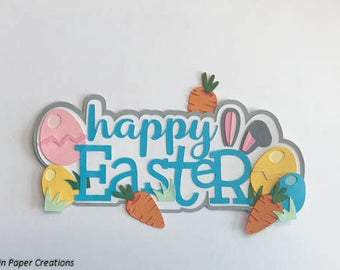 Happy Easter Tittle Premade Scrapbook Pages Die Cut