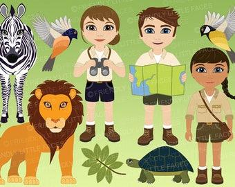 Explorers and Safari Clipart - Digital Download