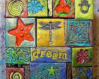 Decorated box, polymer clay mosaic, trinket box, intention box, keepsake box, dragonfly