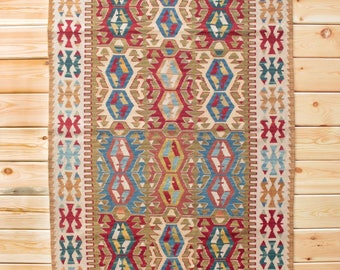 Kilim Rug Turkish Kilim Rug 3.87 x 6.29 ft Tribal Rug Boho Decor Rug Kilim Ottoman Area Rug Bohemian Rug Wool Rug Oriental Rug Turkish Rug