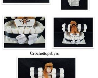 Infant Boys' Fitness Diaper Cake/Gym Diaper Cake/Workout Diaper Cake Gift Arrangement