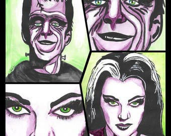 Herman and Lilly Munster (Green and Purple)