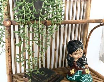 Vintage bamboo shelf/bamboo storage/bamboo decor/bathroom decor/home decor/boho decor/shelf/vintage decor/bohemian home decor/wicker decor/