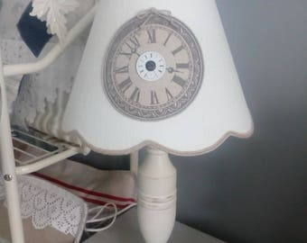 Linen Lampshade, shaped empire scallop with Medallion clock
