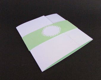 Filigree Wedding Invitation, Custom Wedding Invitation, Handmade Invitation,  Green And White Invitation,