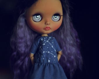 "Dress ""constellation"" for Blythe doll ooak embroidery cotton denim handmade"