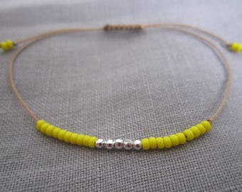 BRACELET WIRE MYUKI SEED YELLOW AND SILVER