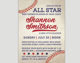 Baby Shower Invitation, Little Slugger | Baseball | Baby Boy | Baby Girl
