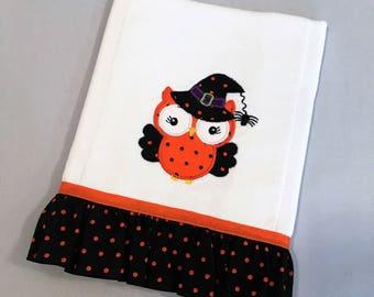 Halloween owl baby girl burp cloth