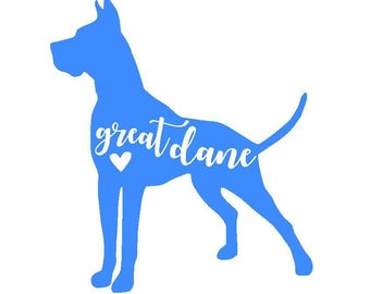 Great Dane Dog Vinyl Decal | Dog Decal | Pet | Personalized Decal | Yeti Cup | Car Window Sticker | Laptop Sticker |