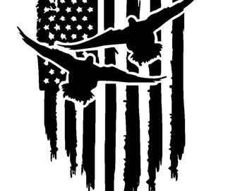 American Flag Duck Vinyl Decal | Duck Hunting Decal | Tattered Flag | Yeti Cup Decal | Car Window Decal | Laptop Sticker |