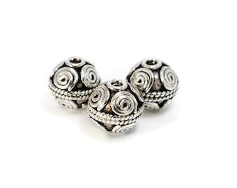 Bali Silver Bead / Sterling Silver / One Bead / Swirl Pattern / 12mm / BD050