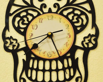 Sugar Skull themed Vinyl Album Record Clock made in the > USA < with FREE Shipping!