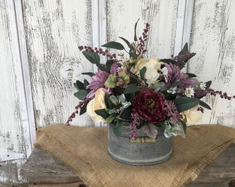 A Plum and Lavender Spring or Summer Arrangement in a Galvanized Tin with a Bale Handle, Wedding Centerpiece, Mothers Day, FAAP