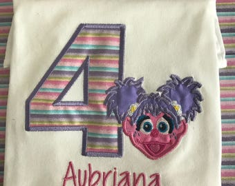 Abby cadabby Sesame Street girl birthday shirt embroidered personalized custom age name