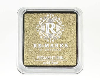 """Re:Marks Gold Metallic Pigment Ink Pad, Gold Ink Pad, Metallic Gold Ink Pad, Small Rubber Stamp Ink Pads, Mini Ink Pads, 2"""" x 2"""" Ink Pads"""