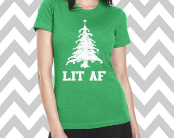 Lit AF Womens' Christmas Tee Shirt Womens Christmas Shirt Funny Holiday Party Shirt Ugly Sweater Party Ginger Bread Man Tee