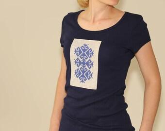 Navy blue slim fit T-Shirt, Ornamental blue T-Shirt