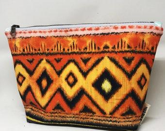 Orange Tribal Makeup Bag   Cosmetic Bag   Zipper Pouch   Flat Bottom Bag   Makeup Organizer   Bag Organizer   Cosmetic Bag