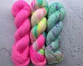 Kit 8, Twisted sock (100g) Dyed to order. Hand dyed sock yarn, 80% merino, 20 nylon.