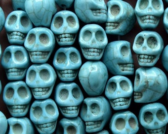 Skull beads - skull veined turquoise howlite 12 mm - skull skull veined turquoise howlite 12 mm 20/40 units