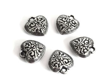 Antiqued silver tone 19x18mm B16 acrylic heart charms