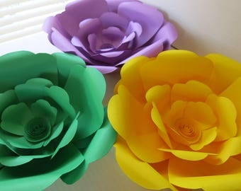 "Mardi Gras Theme Wall Flowers, Handcrafted Giant Paper Roses, Set of 3, 10"" Floral Decor, Fully Assembled"