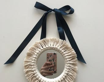 the 'Olive' fringe mirror with silk ribbon; small