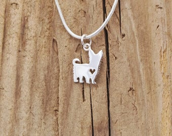 Sterling Silver Tiny Scottie Dog Heart Charm Pendant Terrier Necklace Puppy Silhouette