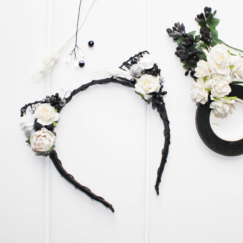 Cat Ears Headband Floral Cat Ears Ariana Grande Inspired Bridal