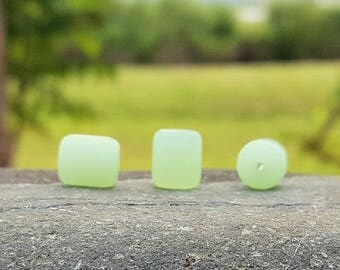 Cultured sea glass barrel nugget beads, Opaque seafoam green, 10x8 mm, 17 pc