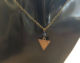 Bronze and Lapis Lazuli necklace, Geometric Bronze necklace, Semi precious gemstone item 852 by CraftyLittleMonkeyGB
