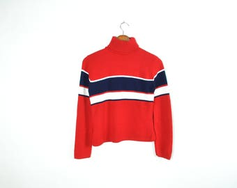 Vintage 70's Knitted Turtleneck Striped Sweater