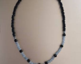 Black and Gray Beaded Necklace with Crescent Moon Charm