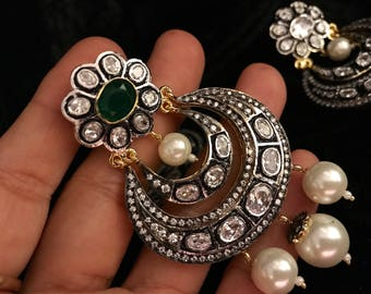 Antique Victorian Chandbalis - Green or Black or Clear | Bollywood Moon Earrings