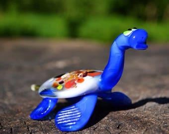 Blue glass turtle figurine animals glass turtles sculpture art glass toy murano turtle blown blue animals tiny big turtle animals figures