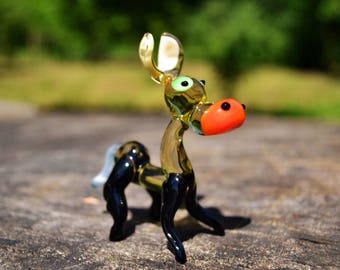 Blown glass donkey figure animals figurine donkey glass miniature art glass donkey sculpture animals tiny purple figure murano toy gift moms